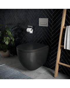 Oceanus Premium WC-Set mit Tempus Fix™ - Spühlrandlos in Schwarz matt