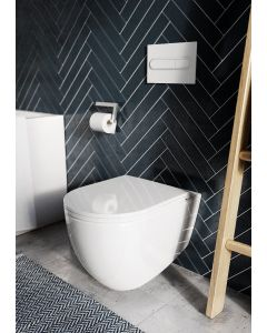 Oceanus Premium WC-Set mit Tempus Fix™ befestigung in Weiß, Spühlrandlos